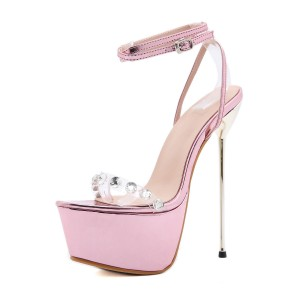 Women Sexy Sandals Light Pink PU Leather Almond Toe Stiletto Heel Sexy Shoes Stripper Shoes #12400933394