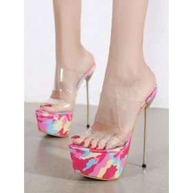 Womens High Heel Sexy Sandals Pink Candy Color Suede Leather Open Toe 2.4 Stiletto Heel Sexy Shoes on sale online #12400933226