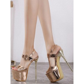 Womens Sexy Sandals Champagne PU Leather Open Toe Stiletto Heel Sexy High Heels Stripper Shoes in style #12400936502