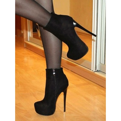 Black Ankle Boots Suede Platform Almond Zip Up High Heel Booties Women Sexy Shoes online shopping #10690812300