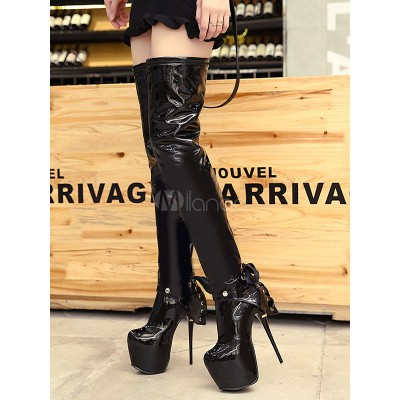 Black Sexy Boots Women Platform Removable Ankle Boots High Heel Thigh High Boots Fitted #12420813188