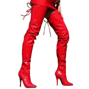 PU Leather Zipper Pointed Toe Sexy High Heel Boots For Women good quality #12420442185