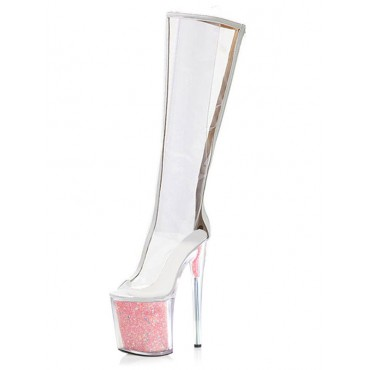 Sexy High Heel Boots For Women Round Toe Zipper Transparente Stiletto Heel Ball Watermelon Red Over The Knee Boots Hot Sale #12420967880