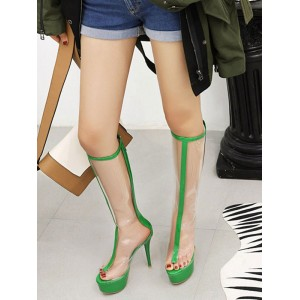 Sexy High Heel Boots Peep Toe Stiletto Heel Rave Club Silver Thigh High Boots Over The Knee Boots Selling Well #12420911540