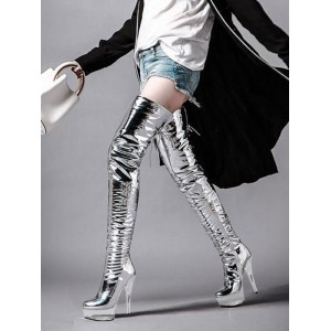 Women Sexy Boots Open Toe Zipper Sequins Stiletto Heel Rave Club Silver Thigh High Boots Over The Knee Boots Stripper Shoes #12420956404