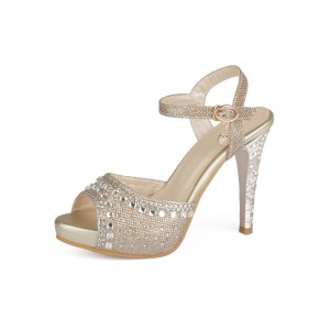 Gold Evening Shoes Women Peep Toe Rhinestones High Heel Sandals Mother Of The Bride Shoes Fitted #32840813726