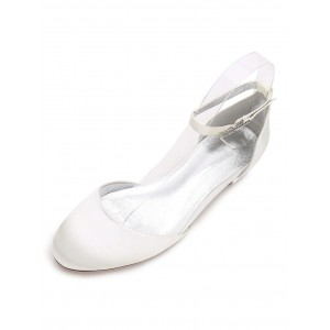 Ivory Bridesmaid Shoes Satin Round Toe Ankle Strap Wedding Guest Shoes For Women shopping #05790726690