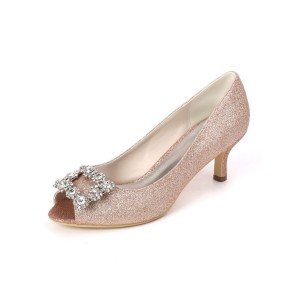 Wedding Guest Shoes Champagne Rhinestones Peep Toe Kitten Heel Bridal Shoes Sequin Party Shoes in new look #05790912928