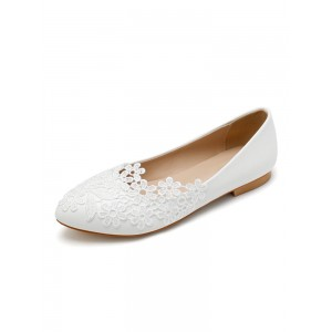 Wedding Shoes White PU Leather Flowers Pointed Toe Flat Bridal Shoes sale online #05790957446