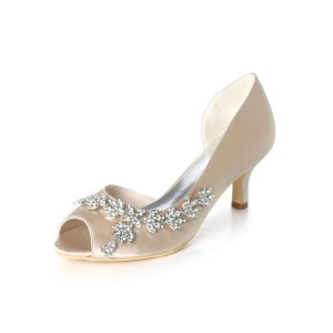 White Wedding Shoes Sequined Rhinestones Peep Toe Kitten Heel Bridal Shoes Wedding Guest Shoes outfits #05790912916