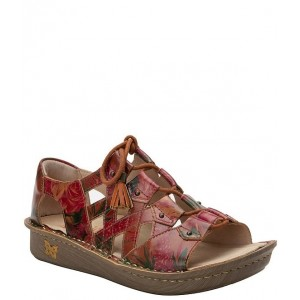Women Valerie Southwest Romance Printed Leather Open Toe Lace-Up Fisherman Sandals Alegria high quality FAPWKDZ