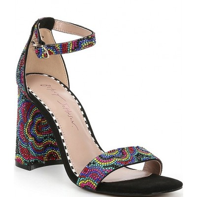 Women Cicely Floral Embellished Ankle Strap Square Toe Sandals Betsey Johnson on clearance VZRBZJH
