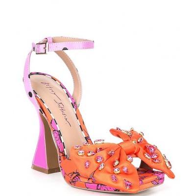 Women Loise Bow Floral Print Sculptural Heel Sandals Betsey Johnson Latest Fashion ZOAQLEP