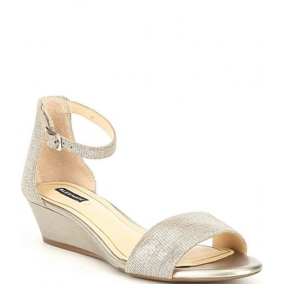 Women Mairitwo Metallic Leather Ankle Strap Wedge Sandals Alex Marie outfits BETGQDI