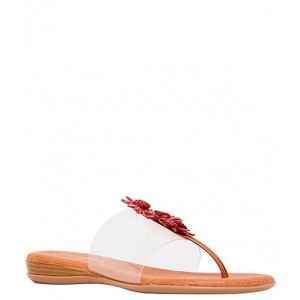 Women Nadine Raffia Flowers Clear Thong Sandals Andre Assous BRGDXQA