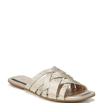 Women 27 EDIT Naturalizer Zoie Square Toe Printed Metallic Woven Leather Banded Sandals Naturalizer QPVRIUY