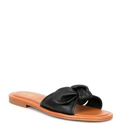 Women Abayrith Leather Bow Flat Square Toe Slide Sandals ALDO cool designs RFQOCBR
