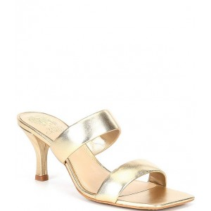 Women Aslee Banded Metallic Leather Square Toe Dress Mules Vince Camuto TELWWJT