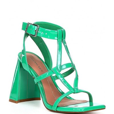 Women Bexxlie Patent Strappy Square Toe Sculptural Heel Dress Sandals Gianni Bini New Arrival SARHLBD