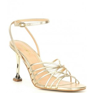 Women Glowing 90 Strappy Leather Ankle Strap Sculptural Heel Dress Sandals Carvela For Sale XUNGTCW