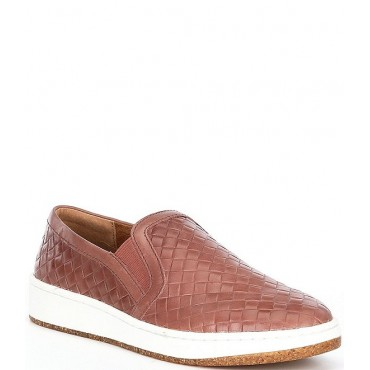 Women Kenzie Woven Embossed Leather Slip-Ons Aetrex Business Casual FVACOIX