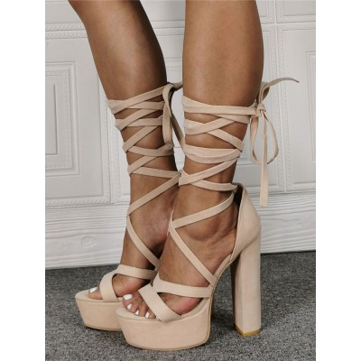 Apricot Suede Strappy Heels Platform Lace Up Chunky Heel Sandals #113240913944