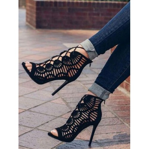 Black Suede Gladiator Sandals Cut Out Lace Up Stiletto Heel Sandals Fit #15310822894