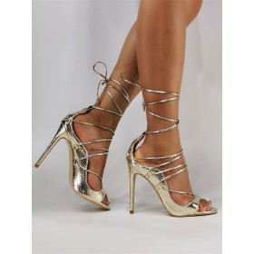 Champagne Lace Up Heels Stiletto Heel Strappy Sandals for Women #113240938424
