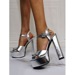Evening Platforms PU Leather Open Toe Chunky Heel High Heel Party Shoes Silver Sexy High Heels #32880953290