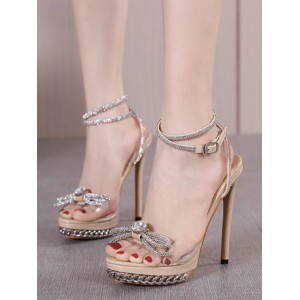 Heel Sandals Apricot Stiletto Heel Square Toe PU Leather Upper Sexy Ankle Strap Heels Express #113240942830