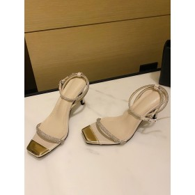 Heel Sandals Apricot Stiletto Heel Square Toe Sequined Cloth Upper Ankle Strap Heels #113240950816