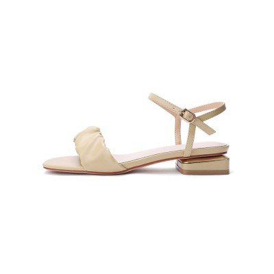 Heel Sandals Beige Chunky Heel Square Toe Faux Leather Ankle Strap Heels Deals #113240951274