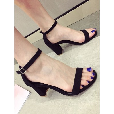 Heel Sandals Black Chunky Heel Round Toe Micro Suede Upper Ankle Strap Heels business casual #113240950888