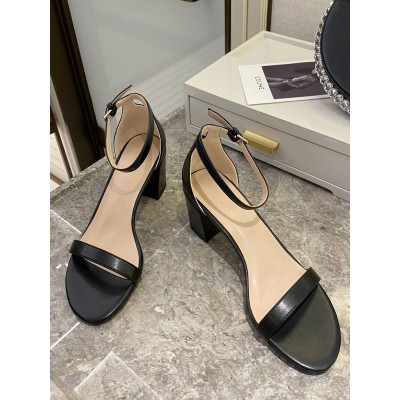 Heel Sandals Black Chunky Heel Round Toe PU Leather Ankle Strap Heels Express #113240950818