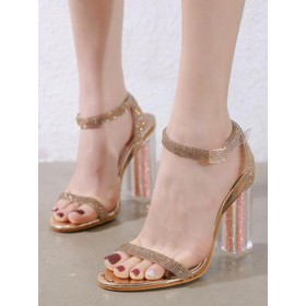 Heel Sandals Blond Chunky Heel Square Toe Sequined Cloth Ankle Strap Heels #113240953674