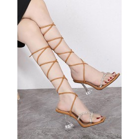 Heel Sandals Coffee Brown Goblet Heel Square Toe PU Leather Lace Up Heels Selling Well #113240952358