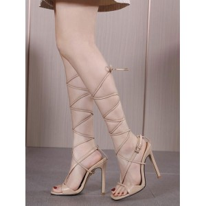 Heel Sandals For Women Apricot Stiletto Heel Square Toe PU Leather Lace Up Summer Heeled Sandals fashion guide #113240942090