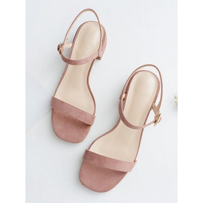 Heel Sandals Pink Chunky Heel Square Toe Micro Suede Upper Ankle Strap Heels Recommendations #113240951278