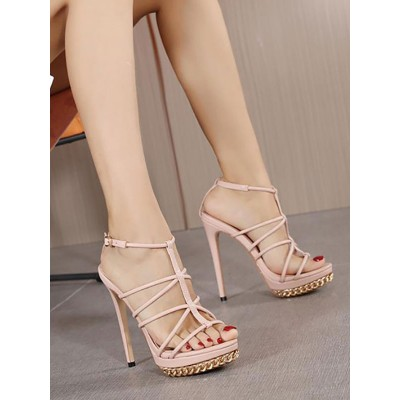 Heel Sandals Pink Stiletto Heel Square Toe PU Leather T-Strap Heels At Target #113240950904