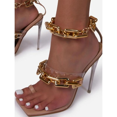 Heel Sandals Pink Stiletto Heel Square Toe PVC Upper Ankle Strap Heels business casual #113240950862