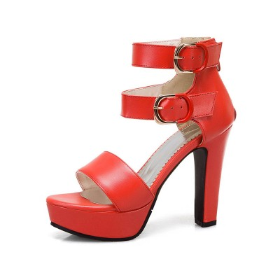Heel Sandals Red Chunky Heel Round Toe PU Leather Ankle Strap Heels The Top Selling #113240959036