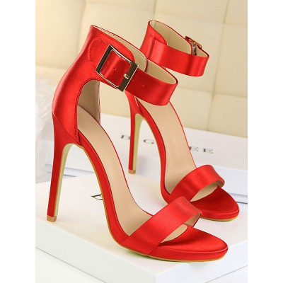 Heel Sandals Red Stiletto Heel Open Toe Silk And Satin Ankle Strap Heels quality #113240951280