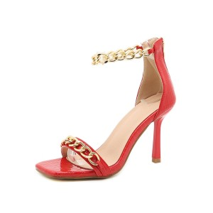 Heel Sandals Red Stiletto Heel Square Toe PU Leather Ankle Strap Heels Fashion #113240950778