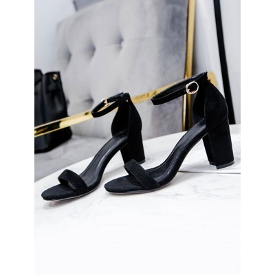 Heel Sandals Sandals Black Chunky Heel Round Toe Micro Suede Upper Ankle Strap Heels Collection #113240950832