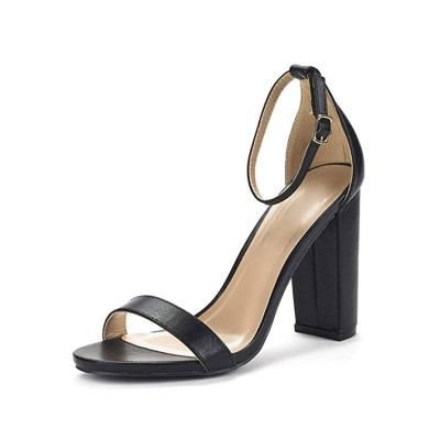 Heel Sandals Silver Chunky Heel Round Toe PU Leather Ankle Strap Heels #113240950840