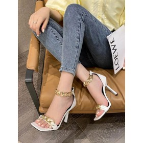 Heel Sandals White Stiletto Heel Open Toe PU Leather Closed-Back Ankle Strap Heels Ships Free #113240956036