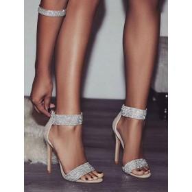 High Heel Sandals Apricot Suede Leather Open Toe Rhinestones Evening shoes Women Party Shoes Selling Well #32840948230