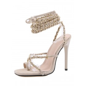 Women Heel Sandals Apricot Stiletto Heel Square Toe Micro Suede Upper Sexy Lace Up Heels Number 1 Selling #113240940370