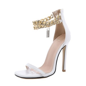 Women Heel Sandals White Stiletto Heel Square Toe PU Leather Sexy Ankle Strap Heels Ships Free #113240940338