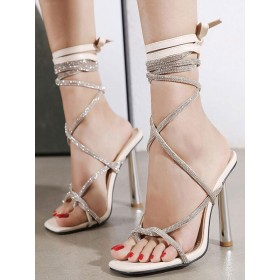 Womens Apricot Strappy Heels Stiletto Heel Lace Up Sandals Popular #113240934566
